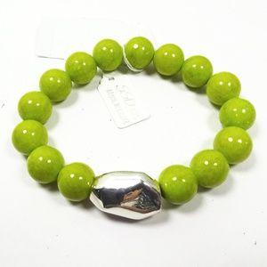 Simon Sebbag Apple Green  Beads Sterling Bracelet